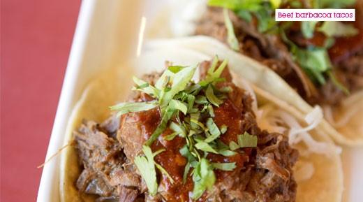 Beef barbacoa tacos street food special