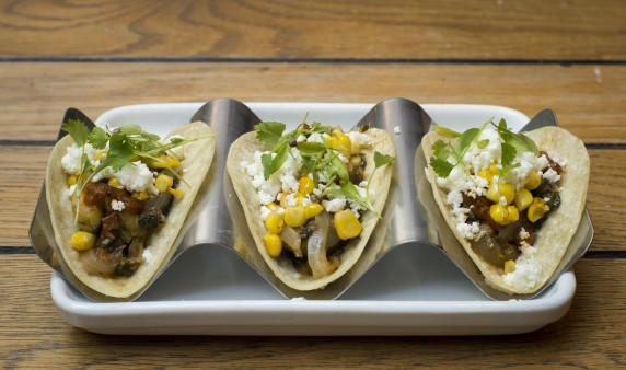 Cactus and grilled corn tacos