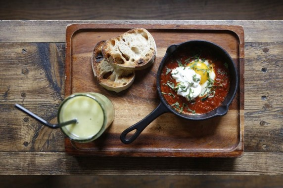 Mexican Baked Eggs with Roast Tomato, chipotle and dippy sourdough.