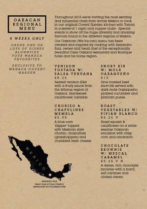 Oaxaca Menu